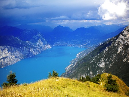 view of lake and mountains with the sky background with clouds Stock Photo