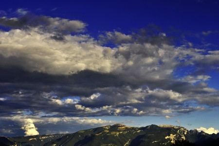 landscape sky with clouds and mountains photo