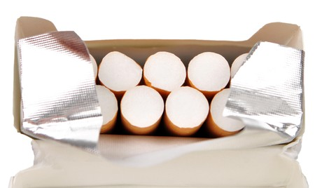 open pack of cigarettes photo