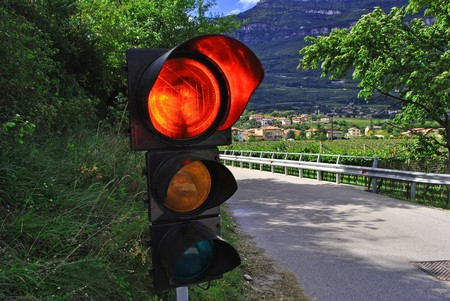 claen: rural road with red lights Stock Photo