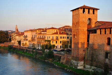 verona: historic buildings in the city center of Verona   Stock Photo