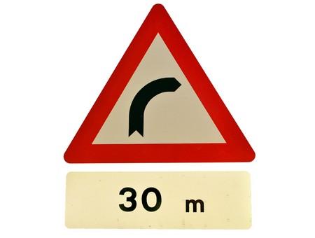 danger road sign right hander Stock Photo - 8205045