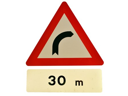 danger road sign right hander Stock Photo - 8205045