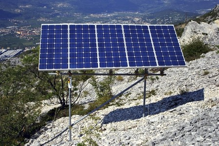 solar panel for electricity production in the high mountains photo