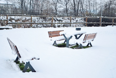 bench covered by snow photo