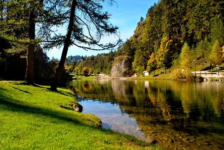 Magic mountain lake autumn photo
