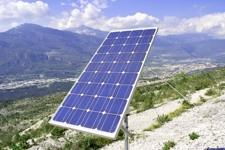 experimental solar panel mounted on rocky mountain Stock Photo - 8611230