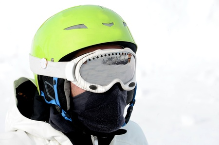 boy with a snowboard helmet Stock Photo