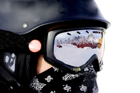 boy with a snowboard helmet Stock Photo