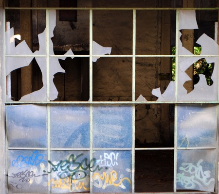 broken window closed with wooden planks Stock Photo - 8745390