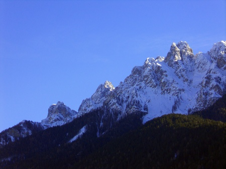Alpine mountains, dolomites in winter photo