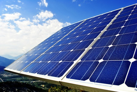 photon: Green economic, solar panels to produce electricity from the sun Stock Photo