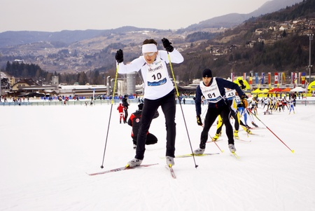 TESERO, ITALY -  JANUARY 29: Race Nordic Skiing for guests and VIPs at the cross-country ski stadium, classic style January 29, 2011 In Tesero, Trentino-South Tyrol - Italy