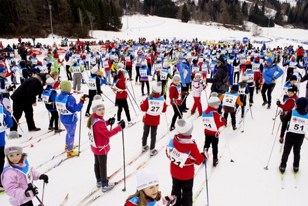 TESERO, ITALY -  JANUARY 29: Race Nordic Skiing for children from 6 to 12 years old, 3 km long, classic style January 29, 2011 In Tesero, Trentino-South Tyrol - Italy