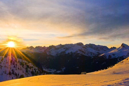Alpine sunset in the mountains of the Dolomites photo