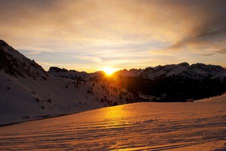 alpamayo: Alpine sunset in the mountains of the Dolomites