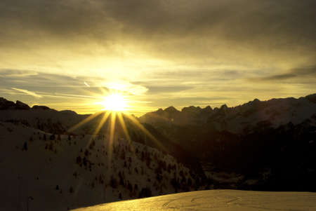 sunset mountain in the Dolomites of Fassa photo