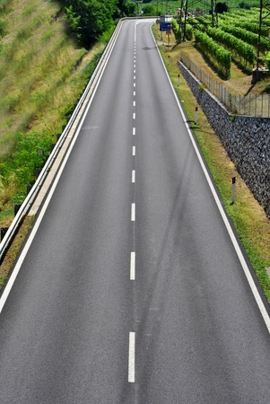 dual: dual carriageway with white stripes and black asphalt Stock Photo