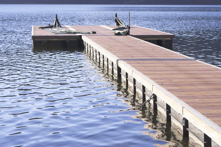 mountain lake with pier and blue sky Stock Photo - 9105842