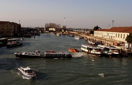 VENICE - MARCH 05: Venice Grand Canal, boats and historic buildings March 05, 2011 In Venice, Veneto, Italy Stock Photo - 9063158