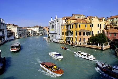 VENICE - MARCH 05: Venice Grand Canal, boats and historic buildings March 05, 2011 In Venice, Veneto, Italy