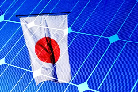 solar panel with a Japanese flag. Green economy photo