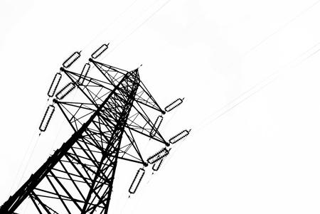 hoogspanningsmasten: Powerline op een bewolkt Stockfoto