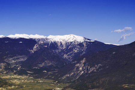 Aerial view of Dolomite landscape with mountain range. photo