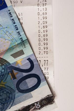 till: Euro currency on a till receipt.