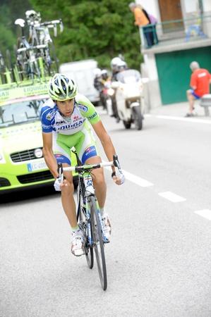 CORTINA D'AMPEZZO, ITALY - MAY 22: Giro DItalia from Conegliano  to Gardeccia  Val di Fassa May 22, 2011 in Cortina DAmpezzo, Italy. Biker Vincenzo Nibali during the 94th