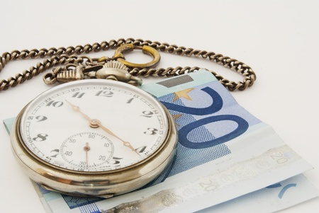 exactitude: euro money, a watch and chain Stock Photo