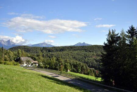tyrol: Beautiful green mountain landscape with trees in Renon, Italy, South Tyrol  Stock Photo
