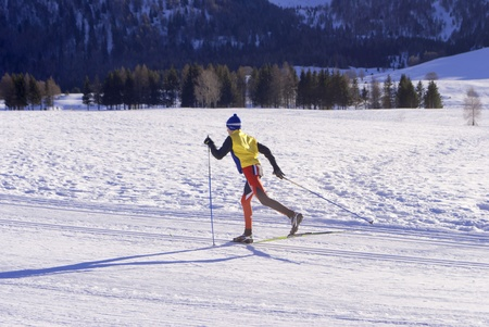 wintry landscape scenery with modified cross country skiing way. Bondone mountain in Trentino. Italy  Editorial