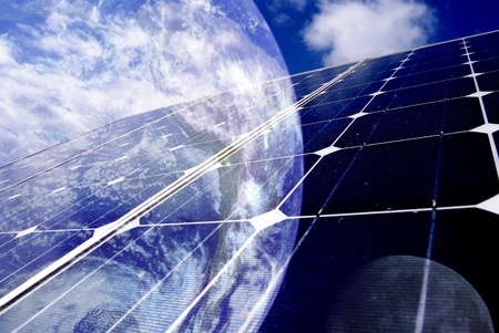 earth with solar panel