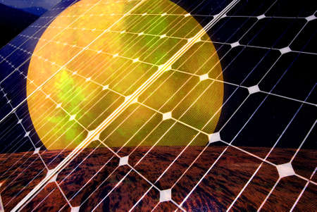 Gradient solar panel with sunsetl, Data Source: NASA Stock Photo - 11161232
