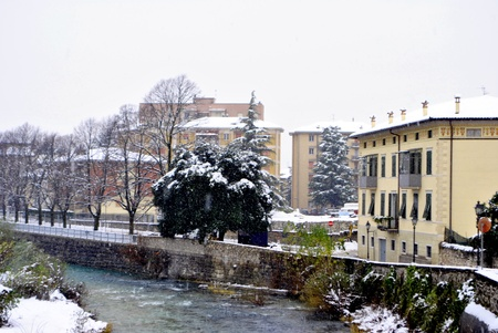 Snowfall in the city, Rovereto. Trentino South Tyrol photo
