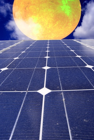fuel cell: Gradient solar panel with sunsetl, Data Source: NASA Stock Photo