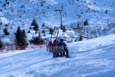 Ski Lift Chairs On Bright Winter Day In Trentino, Italy Stock Photo    11453254