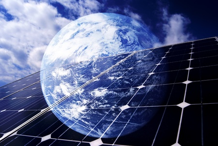 the World, with solar panel Stock Photo