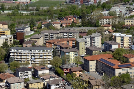 arial: Arial view over small village Stock Photo