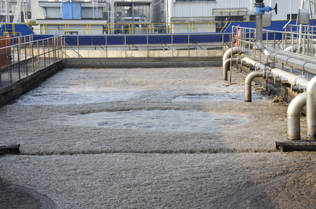 aerobic treatment: Water treatment tank with waste water with aeration process