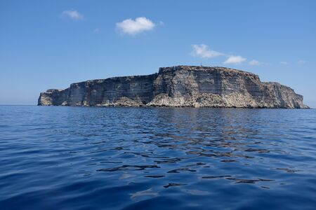 crystalline: Pure crystalline water surface around an island (Lampedusa)
