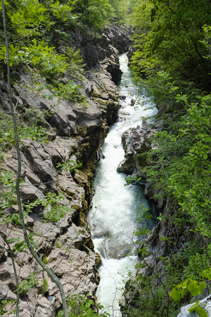 Landscape of flowing water of creek in Sarca river, in Italy