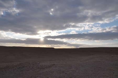 clearer: Israeli Desert Sunset Sinai Border Area Stock Photo