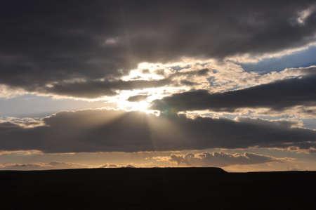 clearer: Israeli Desert Sunset Sinai Border Area 2 Stock Photo