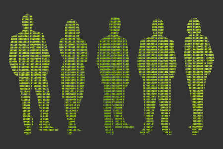 Data protection and privacy (concept) - Silhouettes of five people with green binary code.