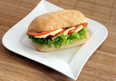 Ciabatta sandwich with mozzarella and tomatoes Stock Photo
