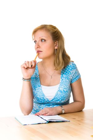 Girl thinking Stock Photo