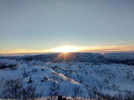 Winter sun up on the mountain
