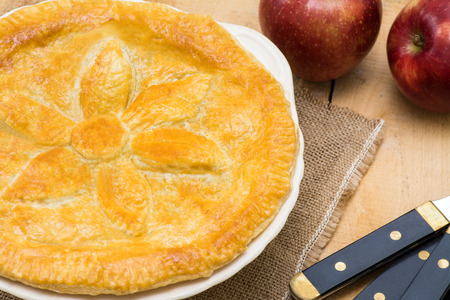 room for text: Fruit Pie with apples and puff pastry room for text